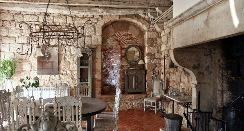 Remarkable Stone Wall Dining Room Which