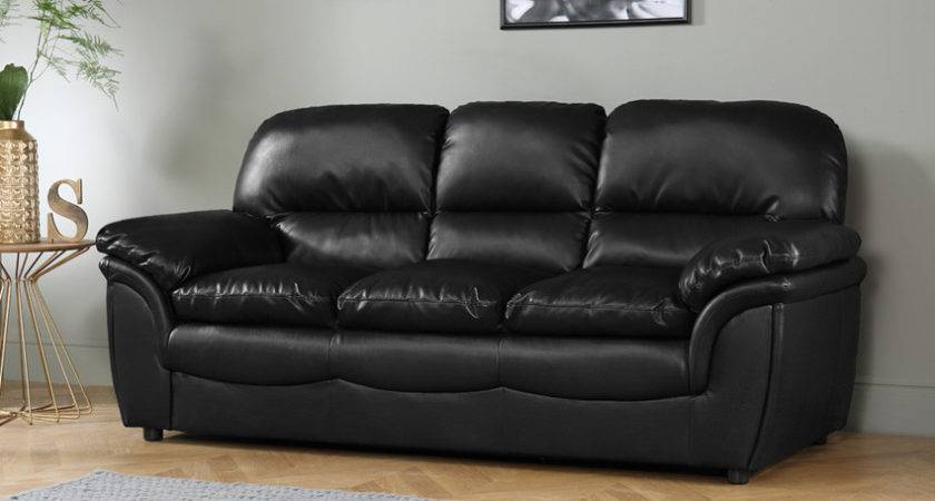 Rochester Black Leather Seater Sofa Only