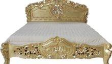 Rococo Ornately Carved Bed Antique Gold Leaf