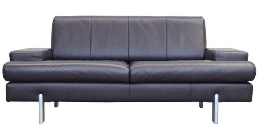 Rolf Benz Designer Leather Sofa Aubergine Lilac Two