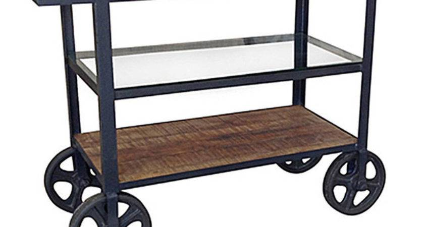 Rolling Island Cart Industrial Kitchen Islands