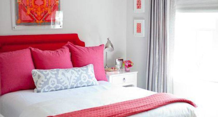Romantic Red Pink Gray Bedroom Color Scheme