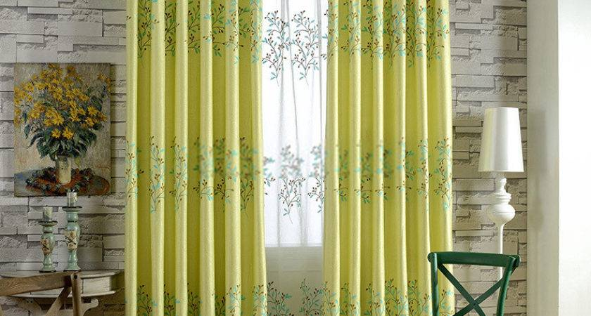 Romantic Yellow Embroidery Blackout Curtain Living Room