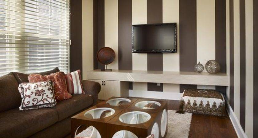 Room Brown Cream Striped Walls Hgtv