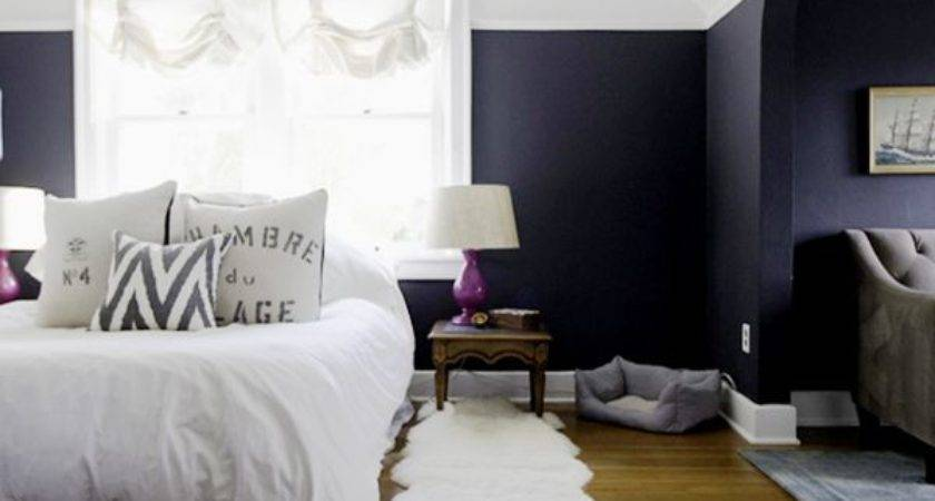 Royal Blue Painted Bed Room Navy Accent Wall