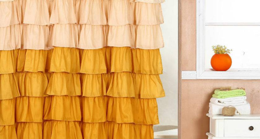 Ruffle Fabric Shower Curtain Color Gold Brown Ebay
