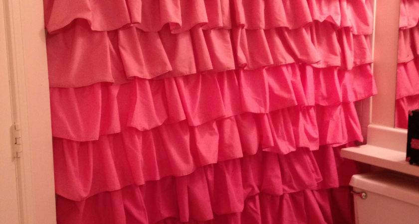 Ruffled Shower Curtain Various Shades Pink