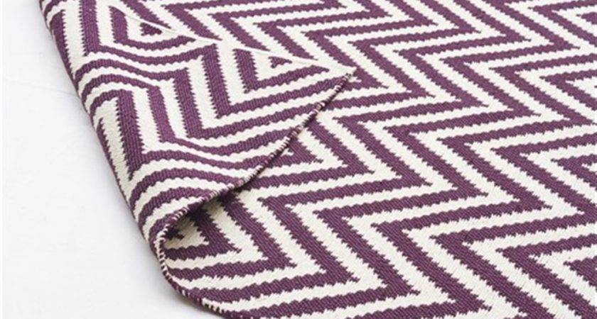 Rug Culture Modern Flatweave Chevron Design Purple