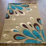 Rug Modern Floral Beige Teal Blue Brown Small Medium Large