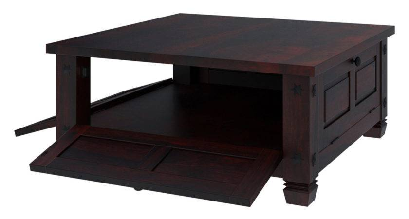 Russet Solid Wood Doors Square Rustic Coffee Table
