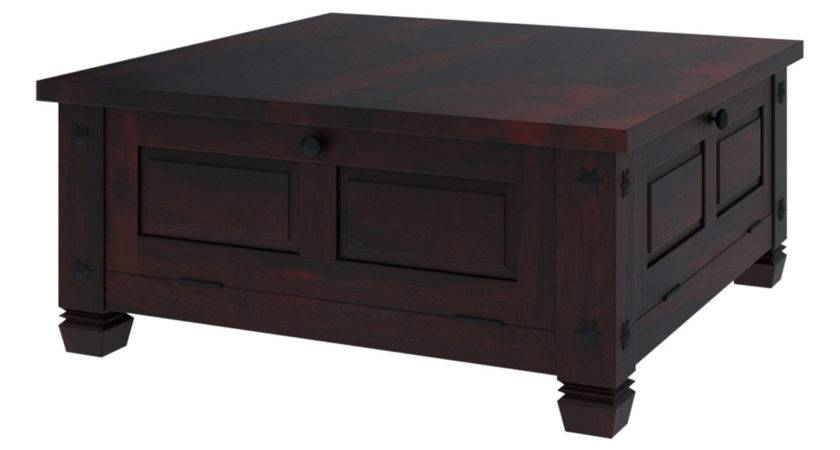 Russet Solid Wood Rustic Square Storage Trunk Coffee Table