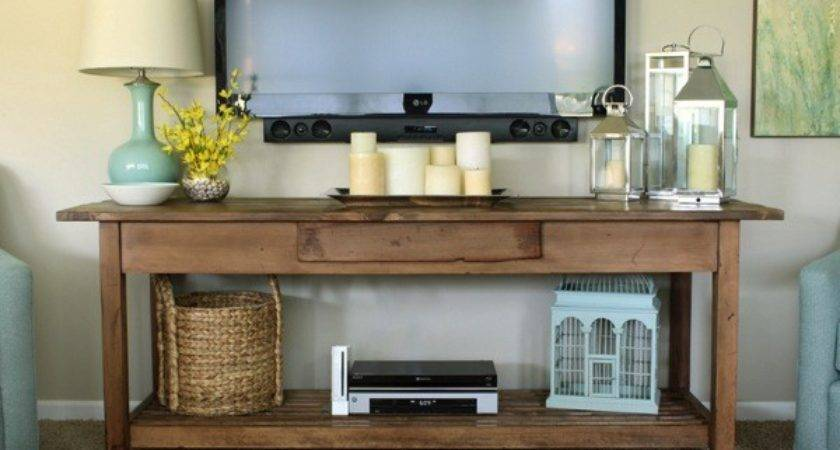 Rustic Console Table Under Wall Mounted Dvd