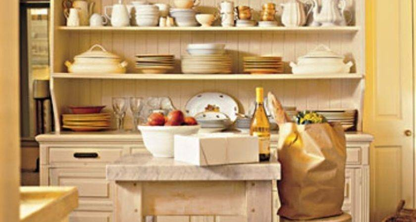 Rustic Hutch Stylish Open Shelves Cottage Kitchen