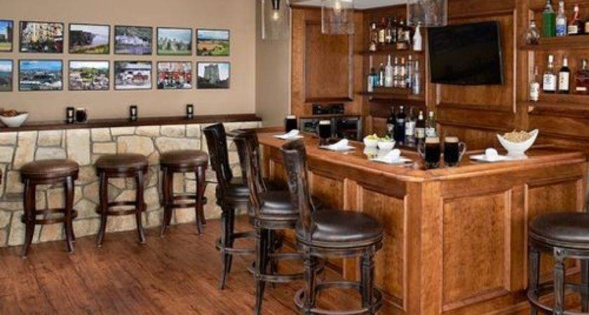 Rustic Shaped Home Bar Design Ideas Remodels Photos