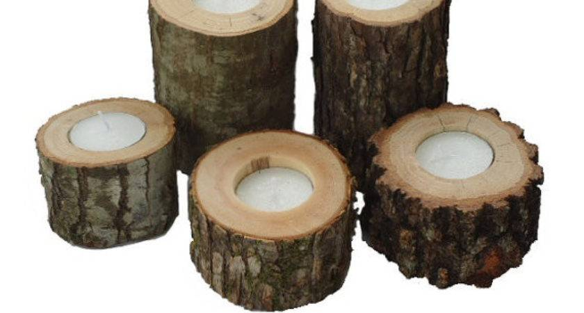 Rustic Wood Candle Holders Sticks Votive Candles