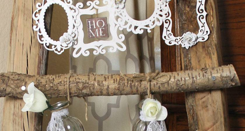 Rustic Wood Ladder Decor Diy Shabby Chic Frames
