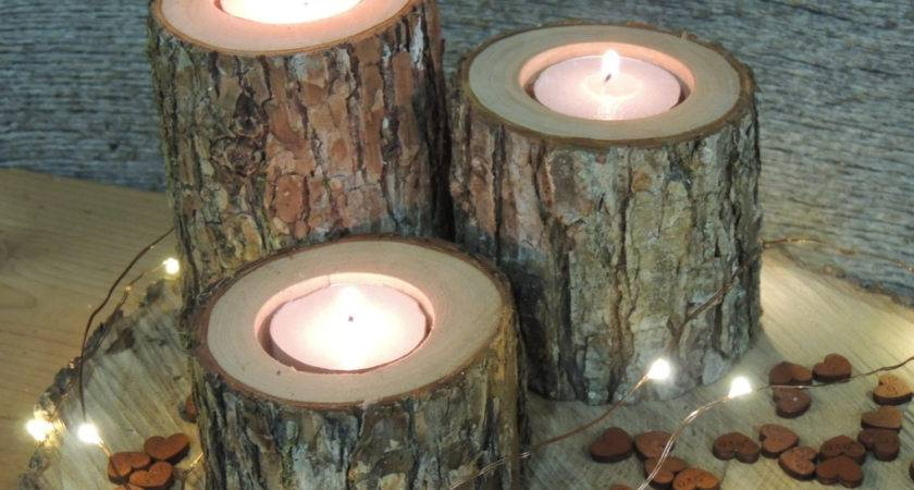 Rustic Wooden Tree Branch Candle Holders Votive