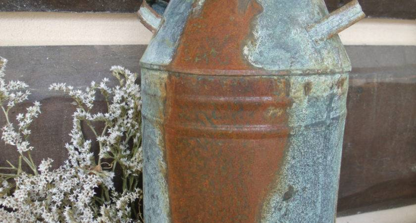 Rusty Metal Dairy Milk Can Rustic Farmhouse Decor Country