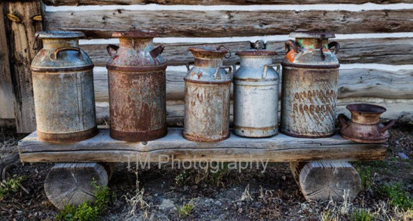Rusty Milk Cans Rustic Lodge Decor Cabin Country