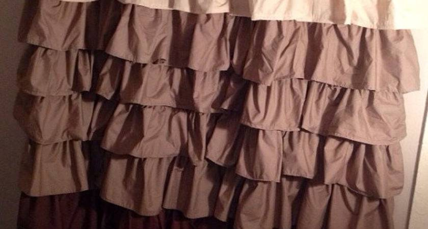 Sale Beige Brown Ombr Ruffle Shower Curtain