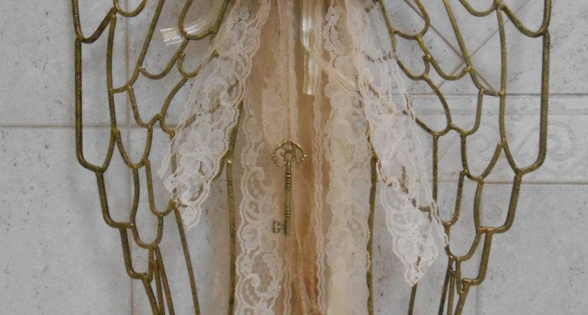 Sale Shabby Gold Angel Wings Home Decor Wall