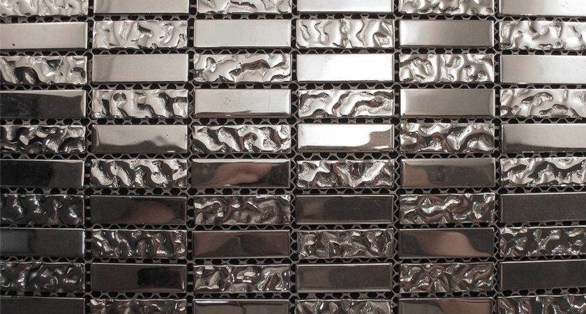 Sample Silver Metallic Glass Blend Mosaic Tile