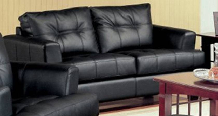 Samuel Black Bonded Leather Living Room Sofa Loveseat