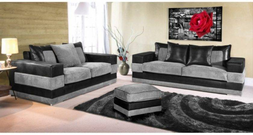 Sanchez Fabric Sofa Set Black Grey Deluxe Sofas