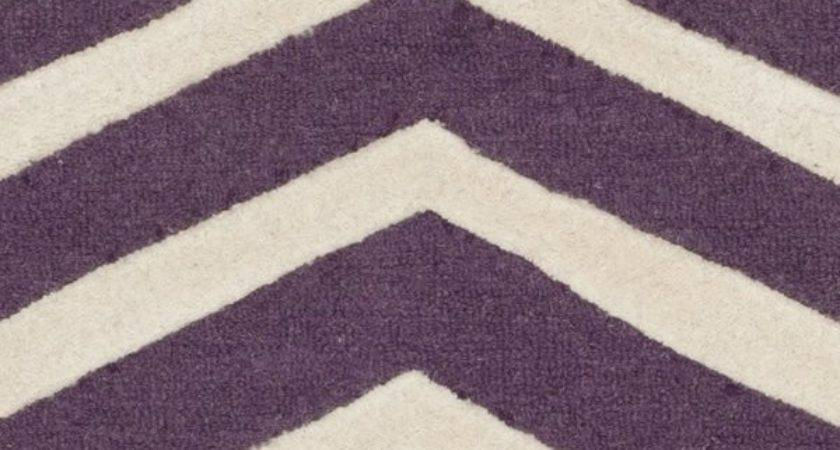 Sandra Ivory Purple Chevron Wool Hand Tufted Area Rug
