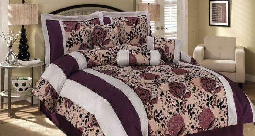 Satin Striped Flocking Cascade Floral Comforter Set