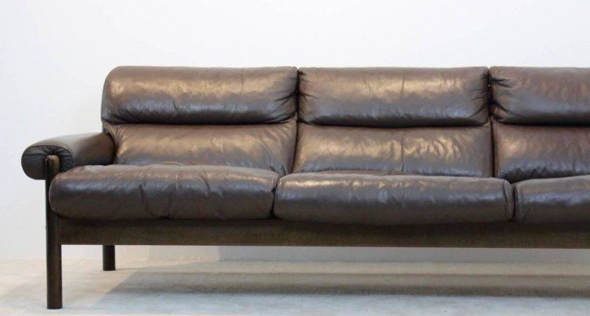 Scandinavian Mid Century Leather Three Seat Sofa