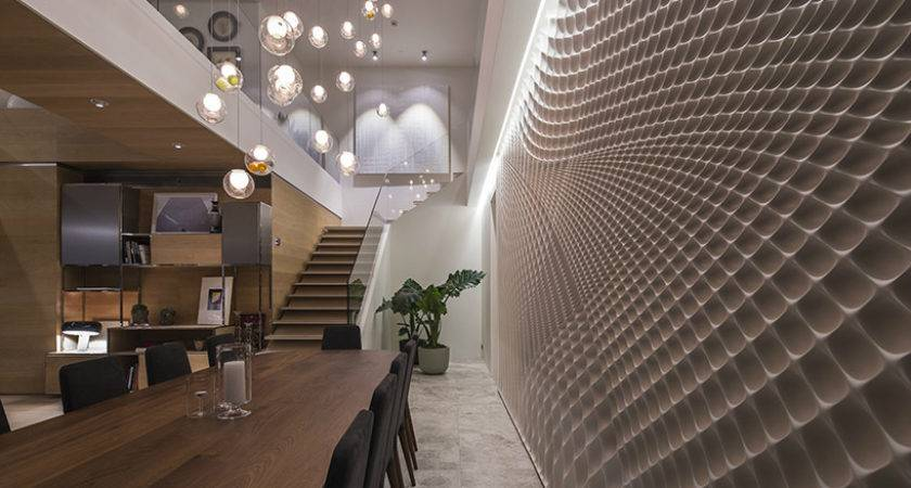 Sculptural Feature Wall Dining Room Fields Studio