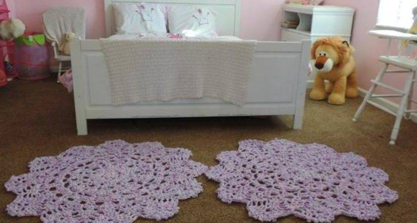 Set Two Crochet Doily Rugs Pink Purple Teal Carpet Throw