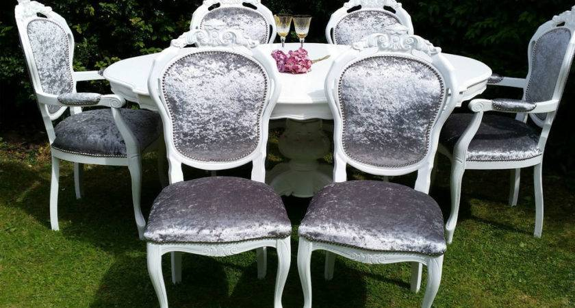 Shabby Chic Italian Rococo Dining Table Chairs