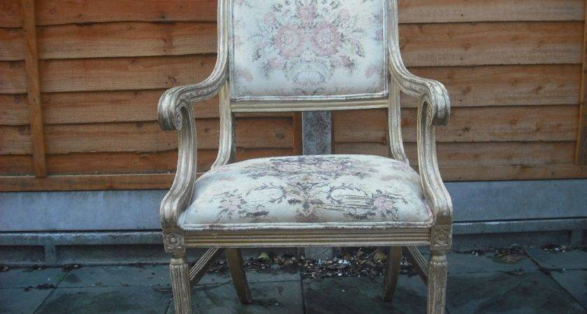 Shabby Chic Louis Armchair Wooden Frame Chair