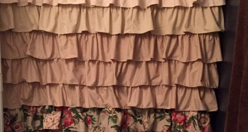 Shabby Chic Ombre Ruffled Shower Curtain