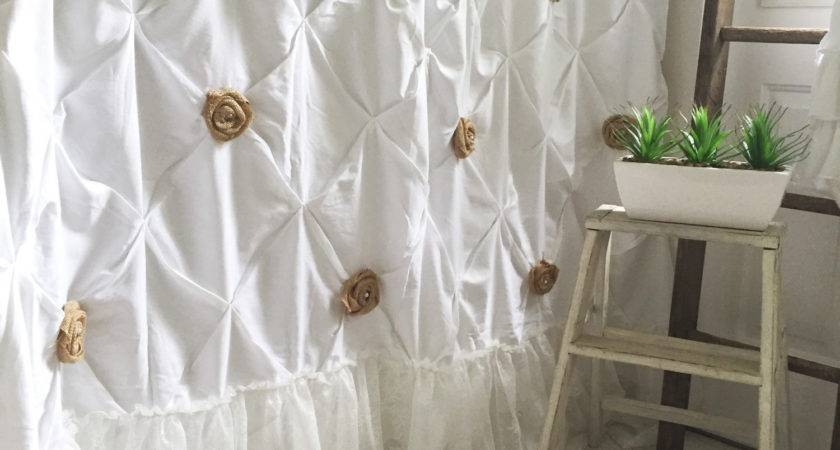 Shabby Chic Shower Curtain Extra Long White Pin Tuck