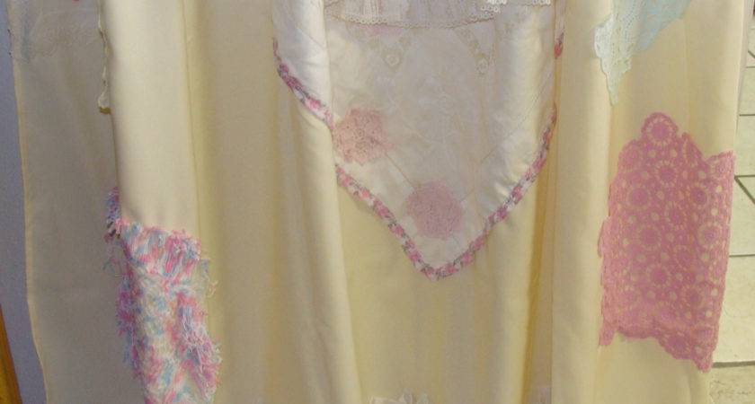 Shabby Chic Shower Curtain Vintage Crochet Linen Embroidery