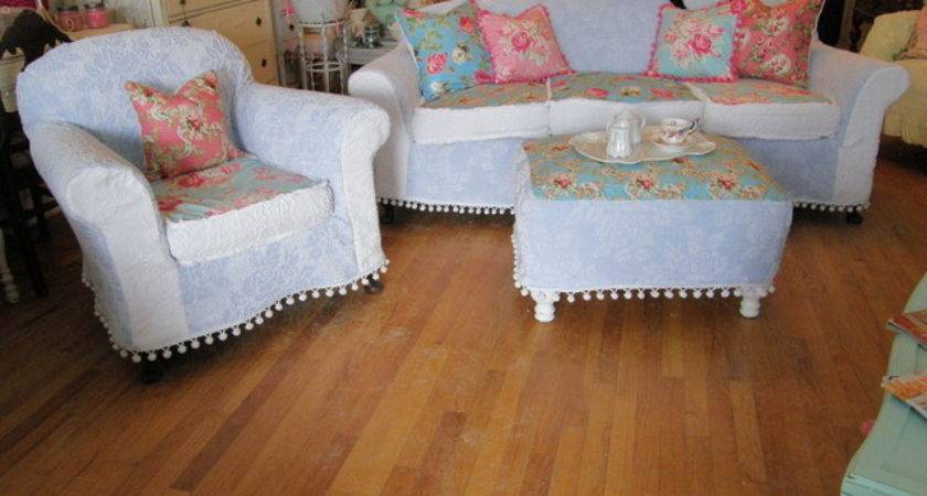 Shabby Chic Sofa Chair Ottoman Chenille Bedspread Rose