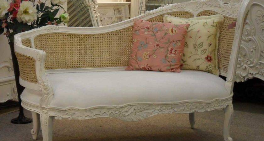 Shabby Chic White Carved Wood Bedroom Chaise Lounge Chair