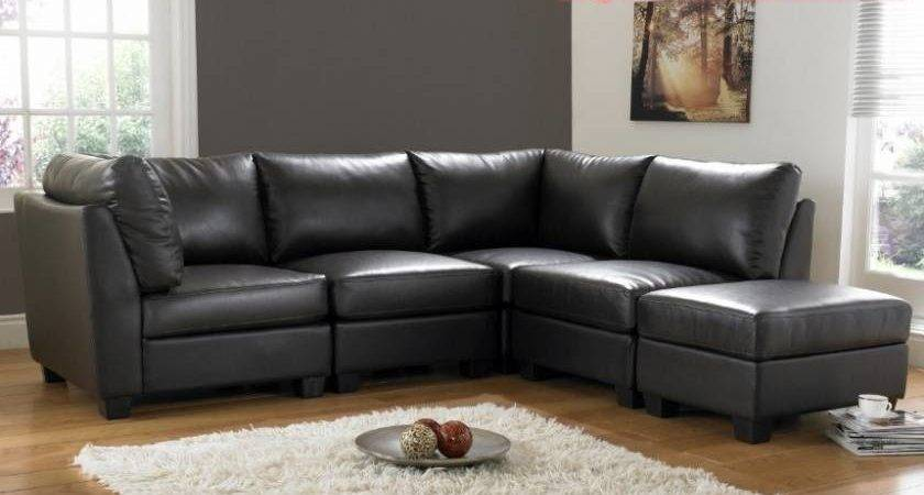 Shaped Black Leather Sofa Living Room Design