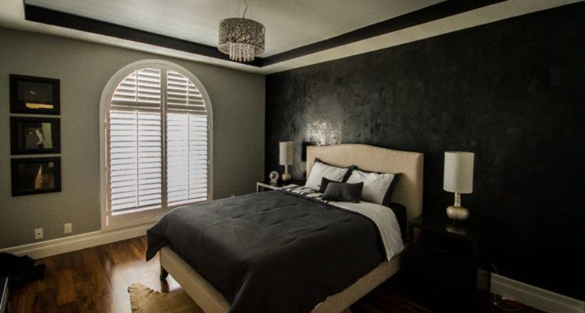 Sherman Oaks Condo Modern Lamps Black Gray Bedroom