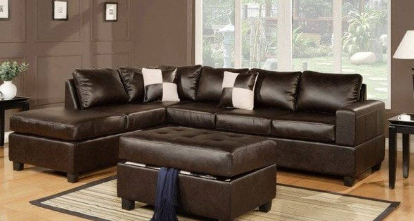 Shop Lombardy Bonded Leather Sectional Sofa Ottoman