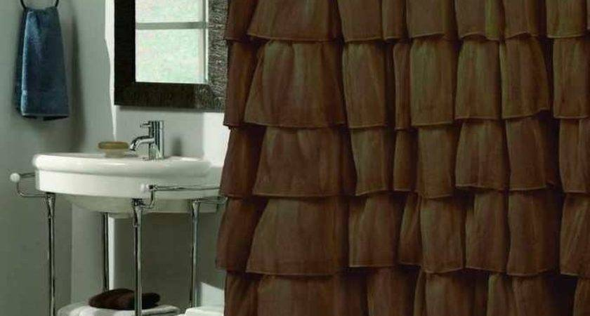 Shower Curtain Brown Ruffle Sheer Tiered Bath