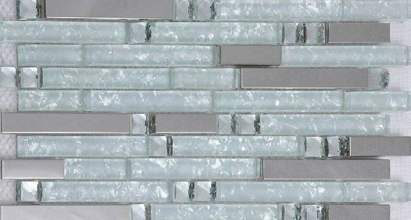 Silver Metallic Mosaic Tile Glass Kitchen