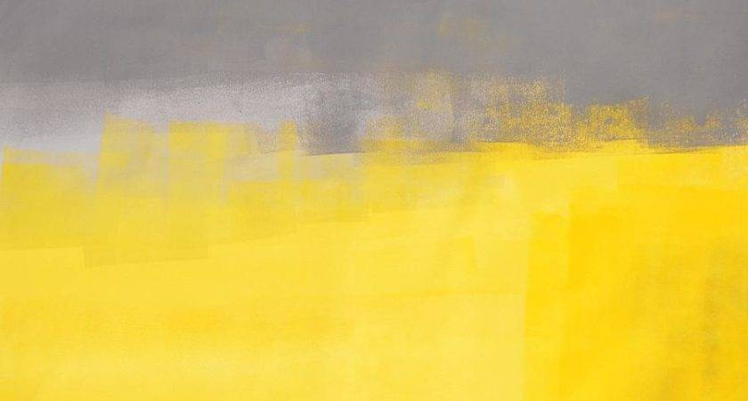 Simple Abstract Grey Yellow Art Painting