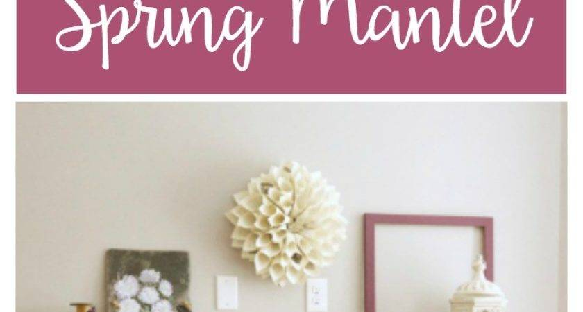 Simple Rustic Spring Mantel Two Purple Couches