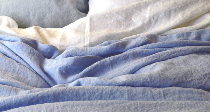 Sky Blue Stonewashed Luxurious Linen Duvet Cover Quilt