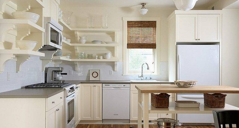 Small Kitchen Island Open Shelves Traditional
