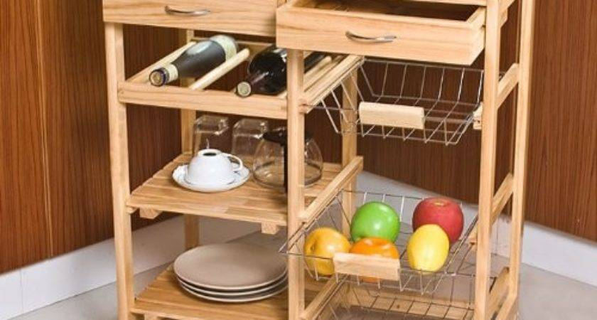 Sobuy Wooden Kitchen Storage Cart Shelves Drawers